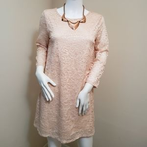 Forever 21 Lace Long Sleeve Short Dress Blush Pink